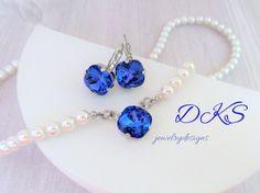 Rare Sapphire, Swarovski Necklace Set, Bridal, Pearls, Rare Sapphire Stones, Swarovski Lever Backs, DKSJewelrydesigns, FREE SHIPPING