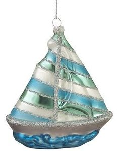 Blown Glass Sailboat Ornament Set of 6 Price:73