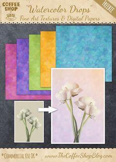 "The CoffeeShop Blog: CoffeeShop ""Watercolor Drops"" Fine Art Textures/Di..."