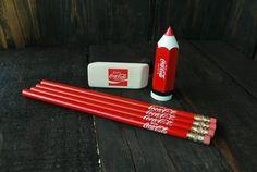 Set of Coca Cola pencils eraser and sharpener by RoyceRelics Coca Cola Gifts, Coca Cola Cake, Coca Cola Decor, Pepsi, Coke, Movie Themed Rooms, Disney Food, Disney Recipes, Always Coca Cola