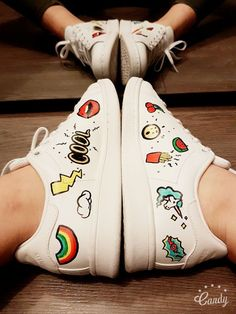 funny 'n cute Stan Smith hand painted badges shoes smiley, rainbow, unicorn, cool, gift for women, girlfriend, original Christmas gift