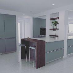 Platinum grey | walnut | render  #openhauskitchens #rendered