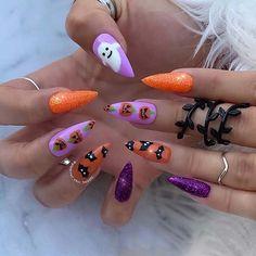 Halloween Acrylic Nails, Holloween Nails, Cute Halloween Nails, Best Acrylic Nails, Acrylic Nail Designs, Purple Halloween, Halloween Halloween, Grunge Nails, Swag Nails