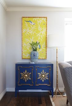 Oh, such a pretty blue console ::  Perhaps I can mimic this look with a couple of starburst mirror frames around large cabinet pulls :: Hallie Henley Design