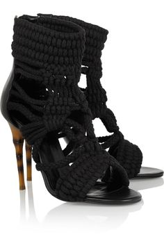 Balmain|Braided cotton and leather sandals