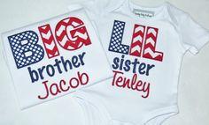 Boys, Girls, Appliqued Shirt, Navy Blue, Red, Patriotic, America, American, Monogrammed, Name, Big, Lil, Brother, Sister, Sibling Shirts