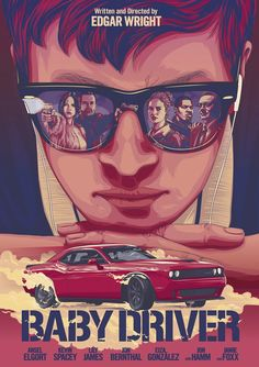 Baby Driver movie poster for Sony Pictures art show by Lon Chan Poster Retro, Movie Poster Art, Cool Movie Posters, Baby Driver Poster, Film Thriller, Arte Pink Floyd, Poster Sport, Gravure Illustration, Graphisches Design