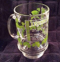 VTG Irish Coffee Recipe Footed Pedestal Glass Mug Cup Green Shamrocks 12 oz