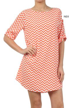 Selma ZigZag Chevron Shift Dress Orange | Freckles Boutique