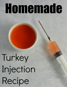 Homemade Turkey Injection Recipe- Save money by making your own turkey injection recipe. It only takes a few minutes to make this tasty marinade for your Thanksgiving turkey! Fried Turkey Injection Recipe, Meat Injection Recipe, Turkey Injection Marinade, Turkey Marinade, Chicken Injection Recipes, Turkey Injector Marinade Recipe, Cajun Turkey, Smoked Turkey, Roasted Turkey