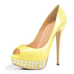 70ba32323c533 onlymaker Women s Sexy High Heels Peep Toe Slip On Platform Pumps Stiletto  Dress Party Wedding Shoes 1 2 3