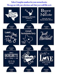 250 Custom Wedding Koozies Foam Can Coolers Pick 1 Or 2 Templates On Etsy