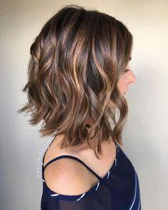 Vibrant Highlights Brown Layered Shoulder Length Hair