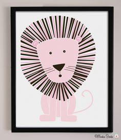 @BabyList Baby Registry Pink Lion Nursery Art Print by MonkieBirdie on Etsy. $24.95 USD, via Etsy.