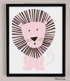 Pink Lion Nursery Art Print by MonkieBirdie on Etsy. $24.95 USD, via Etsy.