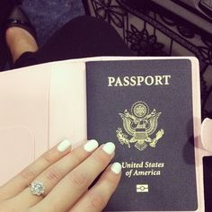He popped the question on a trip? Take a passport ring selfie. | 29 Engagement Ring Instagram Ideas You'll Want To Say Yes To