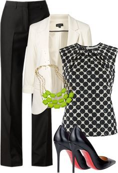 I love black and white/cream. I love heels, but those are too high for me. Don't like the necklace -I would pair it with red accessories.