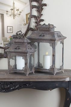 Metal Lanterns - Set of 2//