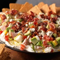 Cobb Salad Dip Recipe - I would probably tweak recipe some (no blue cheese?) but like idea.