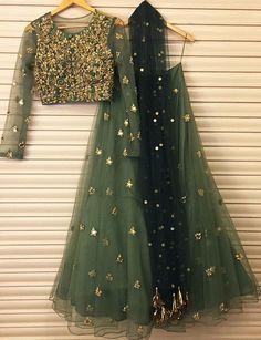 Lovely olive green and gold net heavy embroidered lehenga with long sleeve choli Bhumika sharma # lehenga # Indian wear # Indian fashion Bridal Lehenga, Lehenga Choli, Anarkali, Net Lehenga, Indian Lehenga, Sharara, Lengha Choli Designer, Plain Lehenga, Simple Lehenga