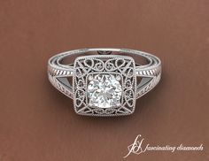 Lacework Ring    Round Cut Diamond Solitaire Ring In 14K White Gold