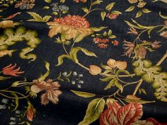 2.625 Yards Braemore DENIM Blue Floral Linen Drapery Upholstery Sewing Fabric  #Braemore