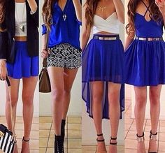 Top: blue skirt, blue, high heels, white, necklace, belt, black ...