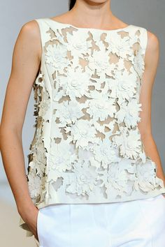 Laser cut leather top with layered floral pattern; lasercut fashion details // Nicole Farhi