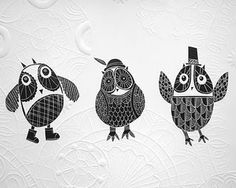 Art for a child's room - Three wise owls...Annie Sandano
