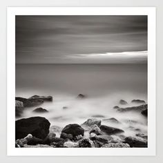 Sea, rocks and sky in winter, long exposure black and white square. Art Print by kostaspavlis Long Exposure, Black Canvas, Buy Frames, All Over The World, Fine Art Prints, Gallery Wall, Square Art, Sky, Black And White