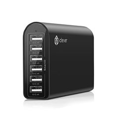 iClever® 6-Port 50W 10A Fast USB Desktop Charger / USB Travel Wall Charging Station with SmartID Technology for iPhone 6 plus, 6, 5S, 5C, 5,4S; iPad Air 2, Air, Mini3, Mini; Samsung Galaxy S5 S4 S3, Note 4 3 ; Nexus; HTC One, 2 M8 and more - Black iClever https://www.amazon.ca/dp/B00PL53CVS/ref=cm_sw_r_pi_dp_14w9wb0166M4V