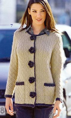 Beautiful cardigan - has graphs Crochet Coat, Crochet Jacket, Crochet Cardigan, Crochet Clothes, Hand Knitted Sweaters, Clothes Crafts, Knit Fashion, Handmade Clothes, Jacket Dress