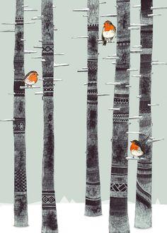 Sandra Dieckmann ilustracion Petirrojos y arboles - Robin Trees