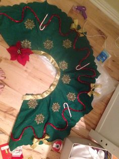 Christmas Tree Skirt into an Ugly Sweater Party Skirt