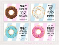 We have an idea for you - a donut Valentine! Donuts are the perfect Valentine's Day treat! Give them in style with these free Valentine donut cards! #free #printable #freebies #valentines #valentinesday #bemyvalentine #donuts #doughnuts #SHdesigns