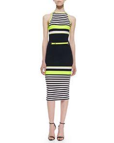 T7PEW Ted Baker London Abiee Sleeveless Halter Neon-Stripe Stretch-Knit Dress, Navy