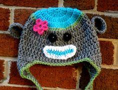 Crochet Sock Monkey Hat Child sizes Ear Flap Hat by StoneThicket, $25.00
