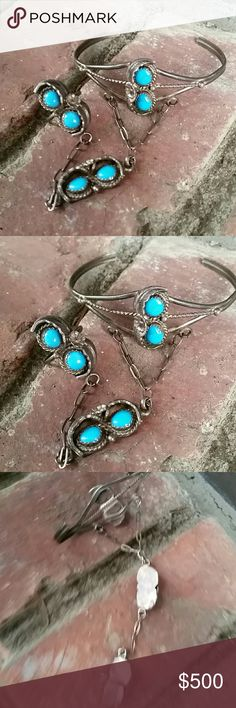 "Vintage Sterling Silver Turquoise Slave Bracelet Vintage Authentic turquoise and Sterling Silver bracelet and Ring. Bracelets total inner circumference measures roughly 6 3/4"" INCLUDING the 1 and 1/2"" gap. Ring is a size 6 Viintage Jewelry Bracelets"