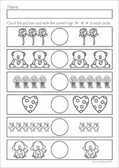 Kindergarten Valentine's Day Math and Literacy Worksheets & Activities No Prep. A page from the unit: greater than, less than, equal to