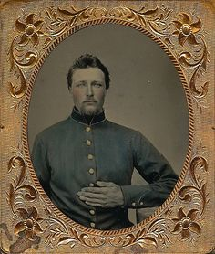 sixth plate tintype of a Federal infantryman identified as Louis Norquist of the 57th Illinois Infantry. Beautiful view. Absolutely flawless and crystal clear. Sporting a brand new frock Louis sits with his hand across his breast and piercing blue eyes. Norquist would enlist with Co. D. on Christmas Day, 1861. (Continued in comments.)