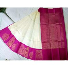 Kuppada Half White Pink Border Saree Product Specification: Kuppadam Saree Half White and Pink BorderCloth: Silk Cotton MixDesign: Weight: Light (below 500 grams)Color: White, PinkBlouse: Included in sareeWash: Dry Wash