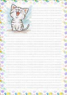 Made by Pecoranera Printable Lined Paper, Free Printable Stationery, Scrapbook Journal, Journal Cards, Cat Coloring Page, Coloring Pages, Lined Writing Paper, Borders For Paper, Stationery Paper