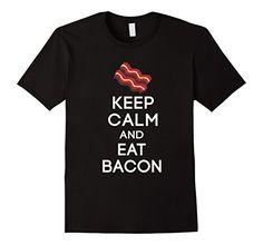 Men's Trendy Shirts: Keep Calm and Eat Bacon Shirt 2XL Bl...…