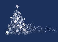 Dazzling Star Tree - This stunning contemporary tree is printed using fine silver foil, embellished with silver holographic foil. Charity Christmas Card