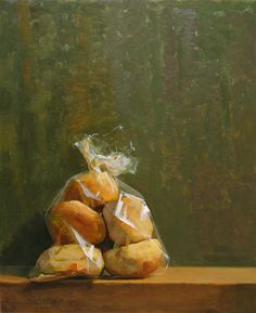 """""""Bag of Bagels"""" oil painting by the late, Thomas S. Buechner. More of his available still-lifes may be viewed here: http://www.westendgallery.net/photo-gallery/artist-gallery-thomas-buechner-still-lifes"""