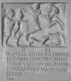 Stele of Marcus Aurelius Bithus, eques in the Equites Singulares (CIL 6.3195). Third century AD. Musei Capitolini, Rome