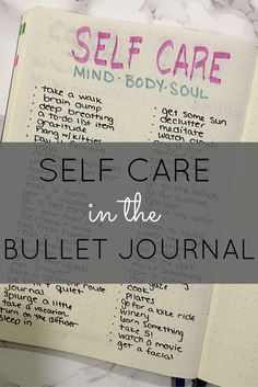 Self care cheat sheet in the bullet journal!