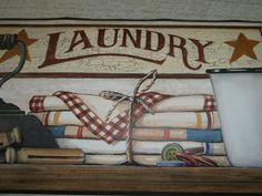 York Laundry Country Primitive Stars Berries Iron Clothespins Wallpaper Border