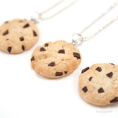 So if you're kinda crafty... you could make your own out of polymer clay to give as favors at your Cookie Monster Party! Scented Chocolate Chip Cookie Necklace  Food Jewelry by tinyhands, $23.00