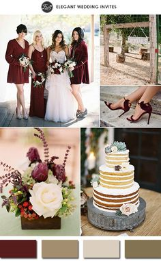 marsala and shades of brown rustic wedding color palettes